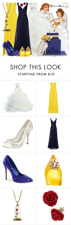 """""""Beauty and the Beast Wedding"""" by janastasiagg ❤ liked on Polyvore featuring Disney, Jenny Packham, Oscar de la Renta, Notte by Marchesa, Dolce&Gabbana, Lenox and Disney Couture"""