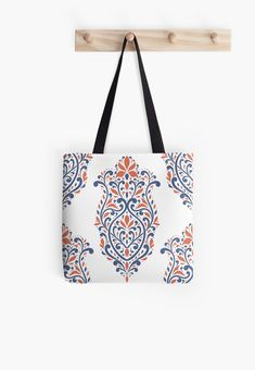 Retro style~Large shopping Tote bag blue /& pink butterfly design NEW