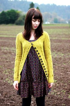 cardigan.  I'm digging the dress with it. Loose and flowy.  I bet I could sew one like that to go with the cardigan.  I also like these colors as is.