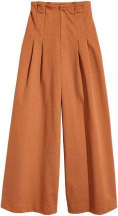 Wide-cut Pants - Terracotta - Ladies H M US - Fashion Foward Salwar Designs, Blouse Designs, Plazzo Pants, Salwar Pants, Outfit Essentials, Pleated Pants, Skirt Pants, Trouser Pants, Square Pants Outfit Casual