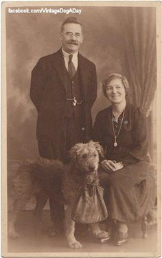 Airedale c.1915 ~ Notice how the Airedale is claiming his people ... front paw on the woman's foot, rear paw on the man's food.