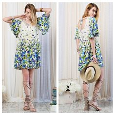 Beautiful printed dress BORDER PRINTED MINI DRESS. IN A SWINGY SILHOUETTE  AND FEMME FLUTTER SLEEVES AND LINED. S(2-4) M(6-8) L(10-12). PRICE FIRM UNLESS BUNDLE. Dresses