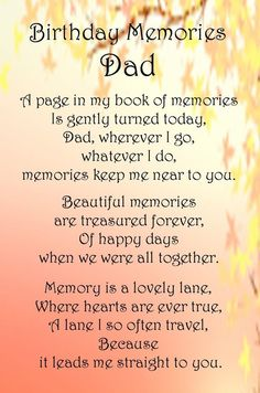Birthday Memory Poems Dad Google Search Birthday In Heaven Dad Birthday Birthday Wishes