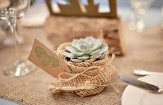 Hessian + Succulents table decorations