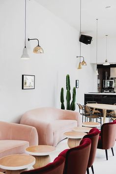 interior of no.197 chiswick fire station as seen on sfgirlbybay | Velvet is our latest fabric obsession | Get the look with an IKEA Stockholm Easy chair with a Bemz cover in Cranberry Velvet by Designers Guild