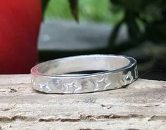 Ring With Star Hand Stamp Silver Hand Made Chunky Festival