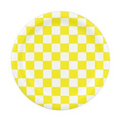 Checkered Yellow and White Paper Plate  sc 1 st  Pinterest & Checkered Green 7 Inch Paper Plate | Zazzle Party Supplies ...