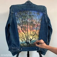 :D Tuscany, Italy Inspired Time-LapseYou can find Tuscany and more on our website. :D Tuscany, Italy Inspired Time-Lapse Painted Denim Jacket, Painted Jeans, Painted Clothes, Denim Kunst, Diy Clothes Videos, Fabric Painting, Dress Painting, Custom Clothes, Diy Fashion