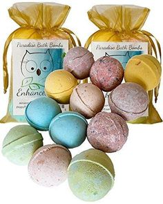 """Double Gift Set 12 Wholesale Bath Bombs from Enhance Me- Handmade with Shea Butter and Organic Sustainable Palm Oil """"See Smell and See The Difference"""""""