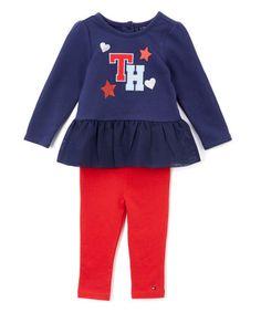 Look at this #zulilyfind! Blue & Red Ruffle Tunic & Leggings - Infant #zulilyfinds