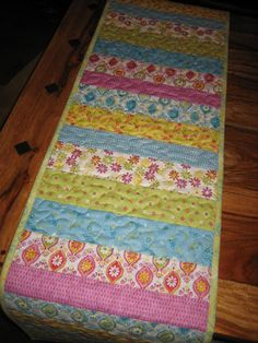 Table Runner Quilted Summer Blue Pink Yellow Shabby by TahoeQuilts
