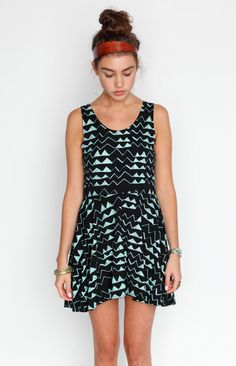 Hand Printed 'Mountain' Print Twirling Dress in Mint on Black.