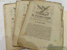 LOTE REVISTAS ANTIGUAS. EL PAJARO VERDE. REVISTA SATIRICA. COLECCION DEL AÑO 1860.