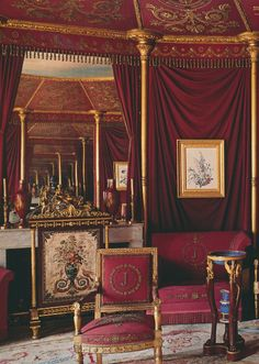 Empire style details in Josephine's bedroom at Malmaison.