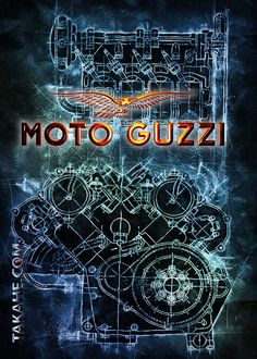 Blueprint Moto Guzzi 8 C detailed, premium quality, magnet mounted prints on metal designed by talented artists.