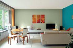 Bedroom Wall Designs, Wall Decor Design, Bedroom Wall Colors, Colour Combinations Interior, Interior Wall Colors, Colourful Living Room, Living Room Colors, Living Rooms, Bedroom Wall Colour Combination