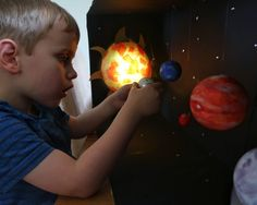 A how-to post for making a model solar system with a light-up sun. Includes materials and instructions for making your model solar system. Solar System Model Project, Solar System Projects For Kids, Solar System Crafts, Solar Projects, Science Projects, Space Activities For Kids, Science For Kids, Planet Colors, Craft Foil
