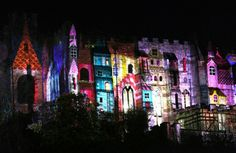 "Durham Castle, Lumiere 2015. ""Fools ""Paradise"" A light show projected onto the castle which told stories of local history and folklore."