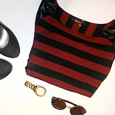 """Ella Moss Striped Dress with Small Back Cut-Out Size: S Color: Black and Red stripes. Back cut out.  Measurements: 52"""" Fabric: Cotton, Modal, Spandex Year bought: 2015 Condition: Only worn a few times. No real signs of wear. Ella Moss Dresses"""