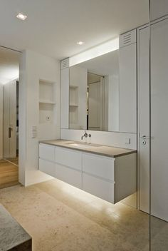A modern house architecture style is famous with its innovative design. Contemporary Bathrooms, Modern Bathroom, Small Bathroom, Open Plan Kitchen Living Room, Best Bathroom Vanities, Attic Bedrooms, Home Decor Mirrors, Bath Design, Bathroom Interior Design