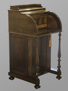 Cylinder Front Davenport Desk Writing Bureau, Old Desks, Antique Desk, Home Office Desks, Secretary, Furnitures, Cool Furniture, Filing Cabinet, Victorian