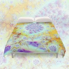 Golden Violet Sea Shells, Abstract Fractal Ocean | Duvet Cover from Society6 ... other styles, other designs, other products are available.  #DianeClancy