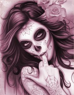Day Of The Dead Pin Up Girl Tattoo Design