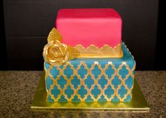 Moroccan Lattice Birthday Cake: used Moroccan lattice by Marvelous Molds