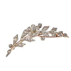 Floral trending for Spring Weddings - Antique: 19th Century Rose Gold & Diamond Floral Spray Barrette (Converted Brooch) www.sugaretcie.com