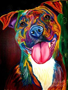 Dog Painting - Pit Bull - Olive by Alicia VanNoy Call
