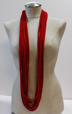 Red T-Scarf by MadewithLovebyLeslie on Etsy