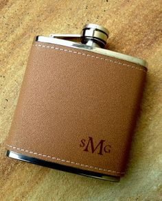 Personalized Flask, Leather Flasks, Custom Engraved Flask, Quantity Discounts - 6 oz.