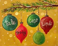 Too cute painting pinterest paintings canvases and craft personalized christmas ornaments canvas painting sip wine paint camp hill pennsylvania crafting for holidays painting canvaspainted canvas diychristmas solutioingenieria
