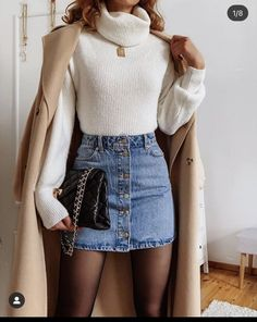 Chic Winter Outfits, Cute Casual Outfits, Stylish Outfits, Fall Outfits, Denim Skirt Outfit Winter, Winter Chic, Outfit Summer, Ootd School Summer, Outifts For School