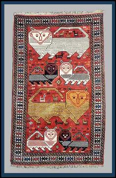 Afshar lion rug, Iran, 20th century.