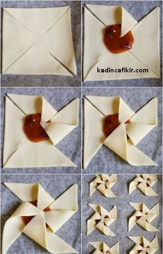 Pinwheels of puff pastry with jam heart - Puff Pastry Recipes, Cookie Recipes, Dessert Recipes, Pancake Recipes, Pastry Design, Bread Shaping, Kolaci I Torte, Homemade Pancakes, Pastry Art