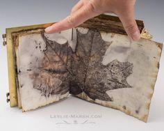 Leaf collage mixed media art journaling...Leslie Marsh