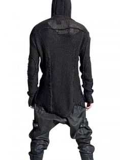 Demobaza Pullover Transition Knitted Sweater in Black for Men - Lyst Dystopian Fashion, Cyberpunk Fashion, Mode Masculine, Avantgarde Mode, Mode Outfits, Fashion Outfits, Guy Fashion, Fashion Goth, Looks Style