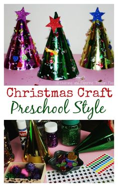 Leftover PARTY HAT CHRISTMAS TREES. Ideal craft for pre-schoolers. Got leftover party hats?  Why not use them this season to create Christmas Trees with your little ones?
