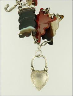 Victorian Scottish Agate Silver Bracelet - Heart Clasp