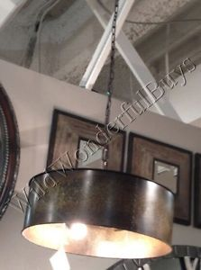 Copper-Gold-Drum-Chandelier-Metal-Pendant-Light-Rustic-Tuscan-Taza-New