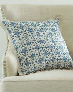 Printed Blue Napa Ravenna Pillow Cover