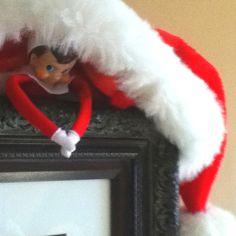 Elf on the Shelf- hide under Santa's hat!