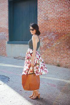 striped crop top/floral midi skirt/heels/summer/spring