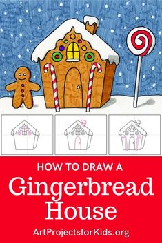 Draw a Gingerbread House · Art Projects for Kids Christmas Art Projects, Easy Art Projects, Drawing Projects, Projects For Kids, Drawing Ideas, Kids Crafts, Project Ideas, Christmas Crafts, Winter Drawings