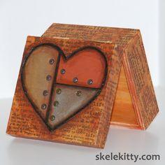 Riveted metallic heart mini trinket box from Skelekitty