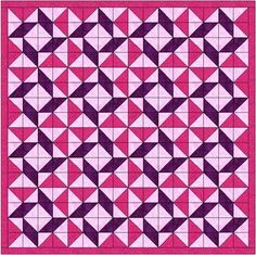 Whirlpool Block Quilt.  Love the combination of bright pink and purple.