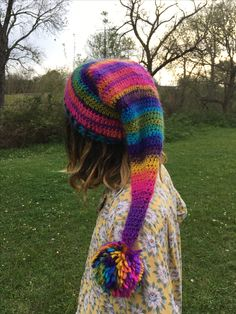 https://www.etsy.com/shop/TheMoonFaes?ref=search_shop_redirect  Etsy pointed rainbow gnome fairy pixie colorful neon hat crochet slouchy hat festival festy costume fashion woodland goblin puffball