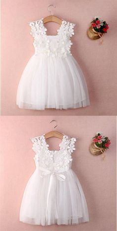 White Sleeveless Lace A Line Flower Girl Dresses Short Littl.- White Sleeveless Lace A Line Flower Girl Dresses Short Little Girl Dresses - Cute Flower Girl Dresses, Lace Flower Girls, Little Girl Dresses, Girls Dresses, Dresses Dresses, Baby Girl White Dress, Lace Flowers, Flower Girl Dress Patterns, Little Girls White Dress