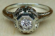 Vintage Antique .25ct Old Mine Cut Diamond 18k by DiamondAddiction